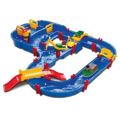 Aqua Play, a water system of locks and canals. There is also a paddle wheel so that the child can crank for the water to flow and bring forward the boats in the canals. A great fun toy to have in the garden or on the beach in the summer.