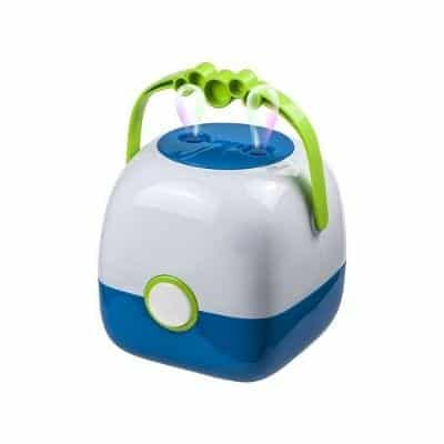 Bubble Machine - it will surely enhance the bathing experience.  The bubble machine blowing bubbles in the room.  You attach the bubble machine in the edge of the bath. Giant Funny birthday present for 3-year-olds.
