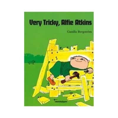 Very Tricki, Alfie Atkins is about an evening when  Alfie borrows dad's toolbox in the closet. Dad reads the newspaper, and when dads want to be at peace, they don't care so much about what they do. But what should Alfie build?