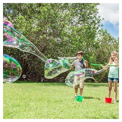 Nice gift for a four-year-old. Gigantic soap bubbles is a fun gift for someone who is four-years-old.
