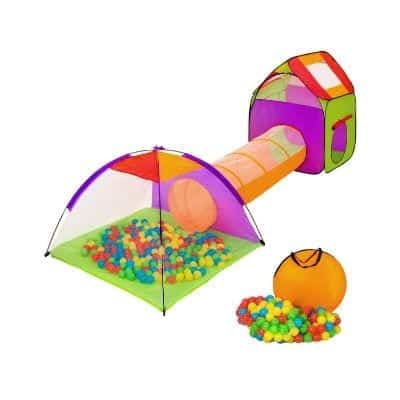 A play tent with a tunnel and balls.